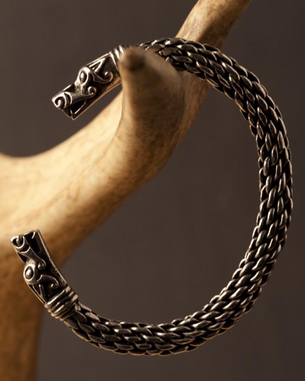 Large Pewter Viking Dragon Bracelet