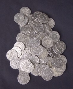 A selection of Viking Saxon coins made using English Pewter