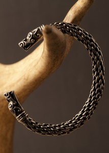 Large Pewter Viking Dragon Bracelet